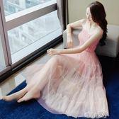 禮服一字肩連身裙女夏2018新款慵懶風chic蕾絲溫柔風吊帶長裙子 時光之旅