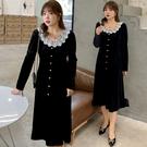 (現貨+預購 FUWAFUWA)--加大尺碼純色蕾絲領絲絨長袖洋裝