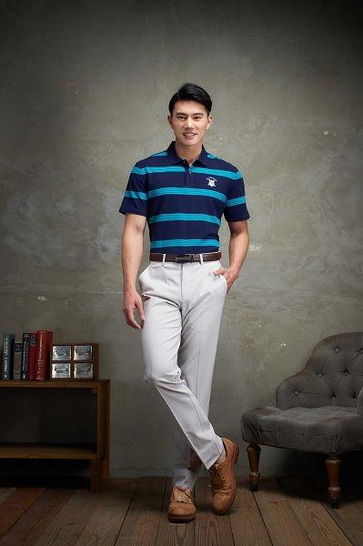Emilio Valentino美式經典條紋POLO衫-藍/綠