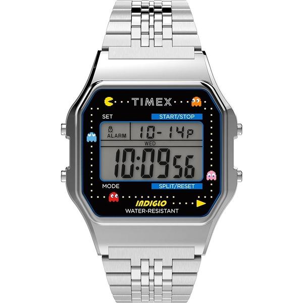 【TIMEX】天美時 Pac-Man 小精靈電子錶 (銀 TXTW2U31900)