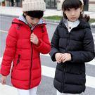 新品冬裝女童棉衣外套兒童羽絨棉服中長版帶帽加厚中大童休閒棉襖新年鉅惠