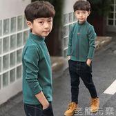 男童加絨長袖條紋T恤高領2018新款中大童秋冬加厚打底衫保暖上衣 至簡元素