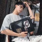 韓版男士手拿包 休閒街頭手抓包 時尚街頭單肩包ipad包潮男包 盯目家