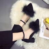 高跟鞋 鞋尖頭中跟5cm粗跟高跟鞋絨面職業一字扣單鞋女春潮【店慶滿月限時八折】