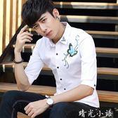 上衣服裝薄夏季襯衫男士青年短袖七分韓版修身中袖五分大碼潮流衫  晴光小語