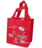 【卡漫城】 Hello Kitty 魔鬼氈 手提袋 紅色 腳踏車 ㊣版 購物袋 萬用袋 環保袋 文具袋 不織布
