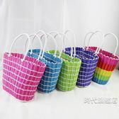 野餐籃時尚挎包手提籃買菜籃編織收納筐野餐籃購物水果禮品塑料藤編籃子XW(一件免運)