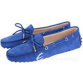 TOD'S Gommino 經典綁帶豆豆休閒鞋(女鞋/寶藍色) 1420147-D6