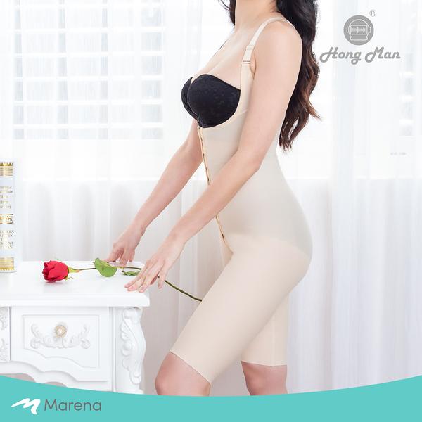 【Marena 瑪芮娜】強效完美塑形系列 護腰美背膝上式排扣型塑身衣-膚色