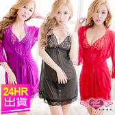 性感睡衣 黑/紅/紫/粉/桃 細肩帶兩件式日系蕾絲薄紗連身居家睡衣睡袍 天使甜心Angel Honey