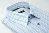 【金‧安德森】經典格紋繞領藍白條紋窄版長袖襯衫