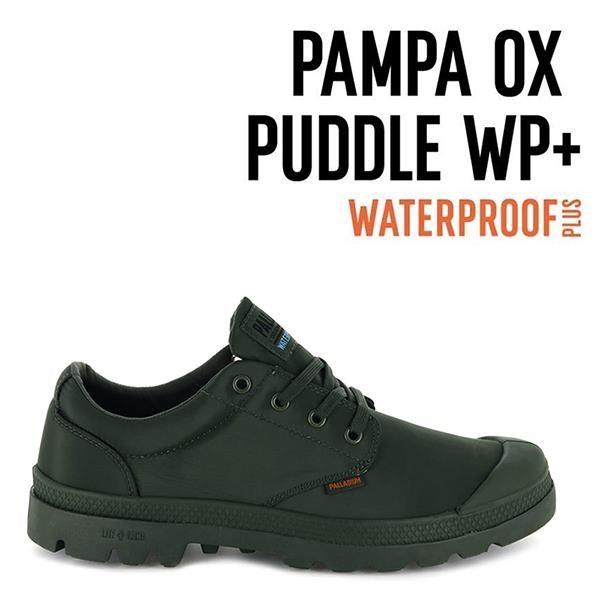 【南紡購物中心】【PALLADIUM】PAMPA OX PUDDLE LT+ WP 輕量雨傘布防水低筒 / 綠 男女鞋