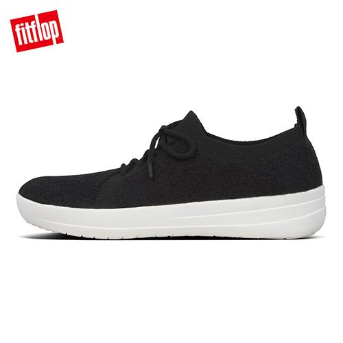 熱銷7折!【FitFlop】F-SPORTY COMFFKNIT SNEAKERS運動風繫帶休閒鞋-女(黑色)