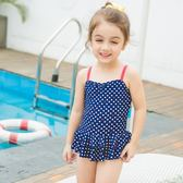 兒童泳衣女孩中小童連體裙式泳衣寶寶兒童游泳衣   初見居家