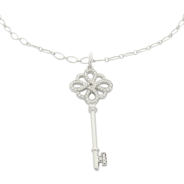 Tiffany & Co 蒂芬妮 Keys系列18白K金中國結鑰匙鑲鑽項錬 Knot Key Pendant BRAND OFF