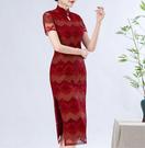 (45 Design)  大尺碼短禮服蕾絲 中國風 中老年旗袍 兒女結婚婚禮洋裝2