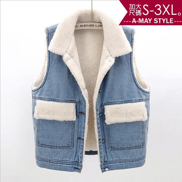 加大碼-羊羔毛保暖牛仔馬甲背心(S-3XL)