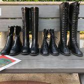歐美時尚前拉鏈百搭pu皮高筒靴子2018新款秋冬潮牌系帶女馬丁靴潮『摩登大道』