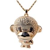 鑲鑽毛衣鍊-可愛小猴子生日情人節禮物女項鍊73gc29[時尚巴黎]