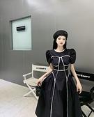 VK精品服飾 韓國風名媛線條公主袖優雅長版收腰短袖洋裝