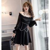 長袖禮服洋裝女神款網紅穿搭單品新款一字肩氣質洋氣顯瘦黑色假兩件套連衣裙8677T364.胖胖唯依