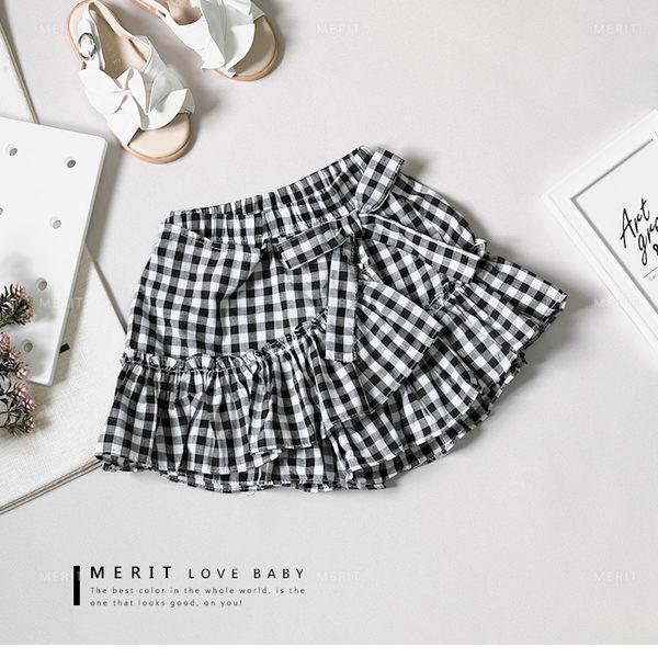 甜美黑白格紋不規則裙襬荷葉邊褲裙 棉麻 森林系 蝴蝶結 魚尾裙 日系 女童 哎北比童裝