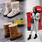 雪靴 冬季雪地棉靴女歐美百搭平底女鞋絨面舒適蝴蝶結套腳女靴-炫科技