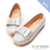 豆豆鞋 D+AF 甜美俏皮.MIT大蝴蝶結莫卡辛健走鞋*灰