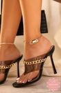 高跟涼鞋 魚口細跟鎖鏈點綴果凍 高跟鞋 涼拖鞋 晚宴鞋*KWOOMI-A814