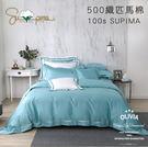 加大雙人床包新式兩用被套四件組【 DR3002 Hamilton 綠 】 500織高織紗匹馬棉 OLIVIA 台灣製
