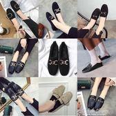 春季新款韓版方頭復古百搭平底單鞋女英倫小皮鞋一腳蹬懶人鞋color shop