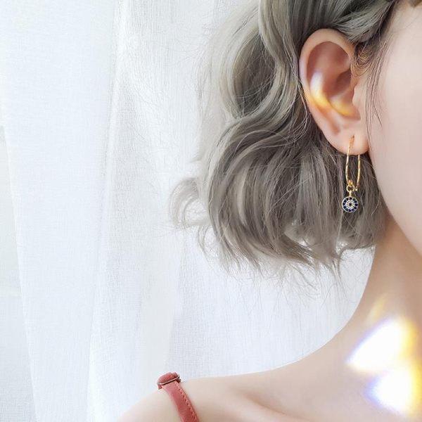 耳環女氣質韓國個性百搭銀惡魔之眼耳釘簡約