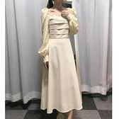 長袖洋裝 長款仙顯高腳踝連身裙長袖長裙女秋季高腰收腰泡泡袖氣質法式顯瘦  芊墨左岸 上新