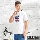 【JEEP】美式立體徽章純棉短袖TEE-白