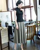 蕾絲旗袍上衣改良時尚短袖修身唐裝中國風