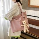 小熊帆布單肩包網紅包包女ins布袋學生簡約大容量小清新韓版書包 【夏日新品】