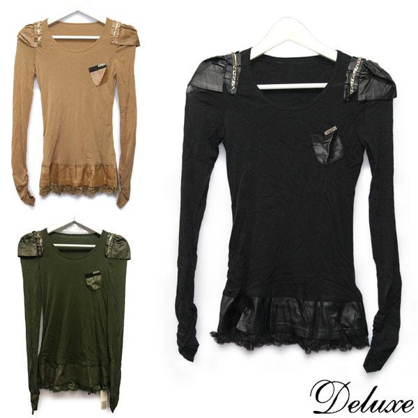 【Deluxe】優雅蕾絲透膚拼接小羊皮公主袖上衣(黑-綠-咖)