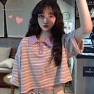韓版寬鬆可愛polo衫高腰露臍短款上衣