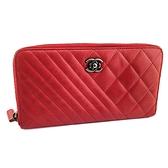 【奢華時尚】CHANEL玫瑰紅色菱格混搭斜紋皮革銀釦八卡拉鍊長夾(八八成新)#24950