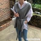 中長款毛線背心馬甲韓版寬鬆大碼套頭針織衫學生休閒開叉系帶毛衣 美好生活