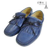 【巴黎站二手名牌專賣店】*現貨*TOD'S 真品*牛皮編織綁帶流蘇休閒豆豆鞋/樂福鞋(5號)