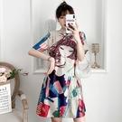 M-4XL洋裝~大碼卡通改良旗袍寬松潮流胖妹妹遮肉氣質連身裙7065 3F072-B胖妞衣櫥