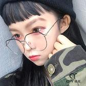 復古金屬大框眼鏡文藝眼鏡架女潮平光鏡