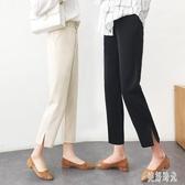 2020韓版春款寬松休閒西裝褲女九分直筒褲開叉高腰煙管褲 PA15370『美好时光』