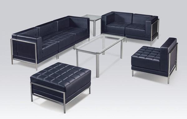【 IS空間美學】黑皮方格103組合式沙發  (不含大小茶几/1+2+1)