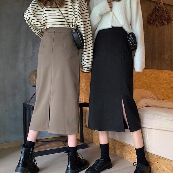 半身洋裝 秋冬黑色半身裙女秋季新款冬季高腰氣質中長款開叉洋裝【快速出貨】