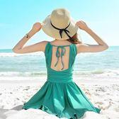 新款韓版時尚加大碼連體裙式保守遮肚鋼托小胸聚攏大胸溫泉泳衣女