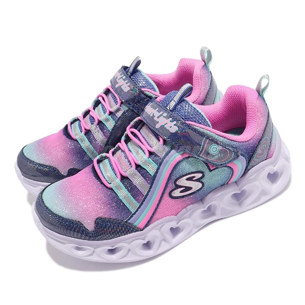 Skechers 童鞋 S Light-Heart Lights-Rainbow Lux 深藍 粉紅 彩虹 魔鬼氈 燈鞋 女孩 【ACS】 302308LNVMT