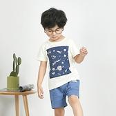 太空旅行星球笑臉手繪風短T 竹節棉 涼爽 竹節棉 男童 春夏 短袖 上衣 T恤