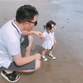 LUSON媽 親子裝女寶寶polo衫短袖T恤夏裝2018新款潮父女裝全家裝 【korea時尚記】